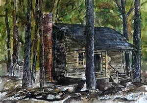 Log Cabin Watercolor Painting