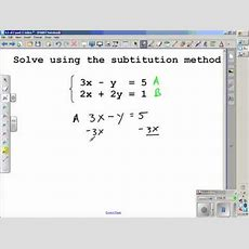 Solving Systems Of Equations Algebraiclly Section 32 Algebra 2 Youtube