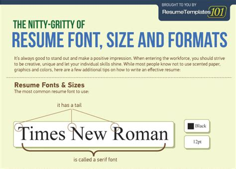 the resume font size and formats infographic