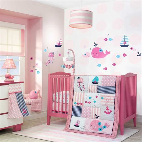 nautical baby girls pink patchwork nursery whales fish