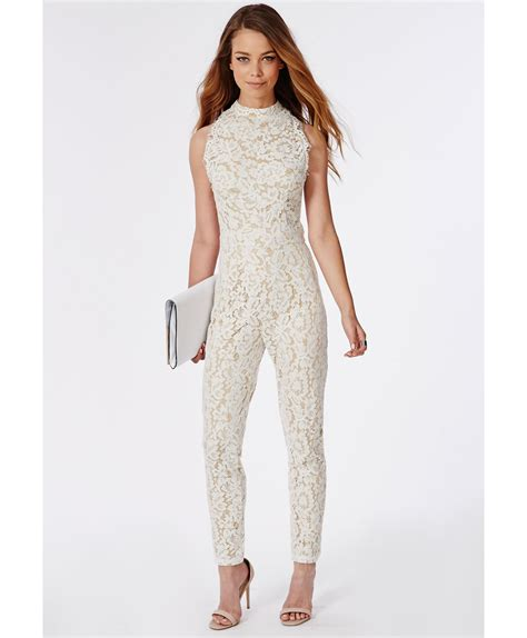 lace jumpsuit white missguided scallop lace halterneck jumpsuit white in white