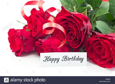Happy Birthday Roses Images Happy Birthday Card With Bouquet Of Roses On White