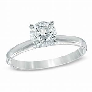 1 ct diamond solitaire engagement ring in 14k white gold With zales wedding ring upgrade