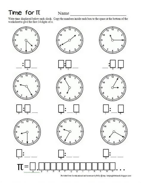 time for pi second grade math worksheet for pi day