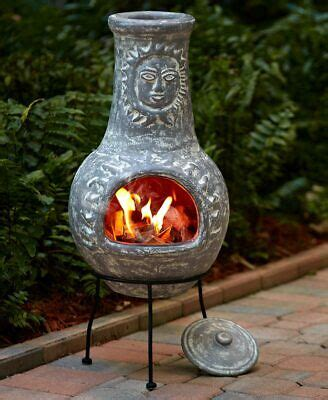 Space jams retro 11, wolfgang puck 2 qt saucepan, and columbia freak peak at shopelix.com. Chiminea Fire Pit Rustic Outdoor Patio Handcrafted Clay Accent Decor Metal Stand   eBay