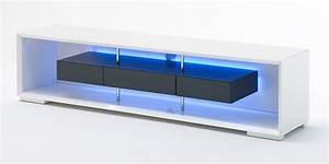Meuble Tv Gris Laqué : meuble tv blanc et gris laqu meuble tv hetre trendsetter ~ Teatrodelosmanantiales.com Idées de Décoration