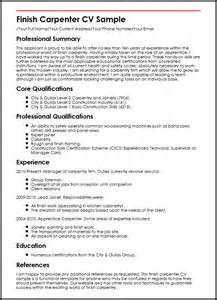 basic resume sle format resume finish carpenter