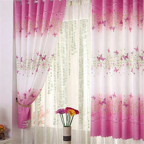 cute piece pink eyelet butterfly finished curtain kids