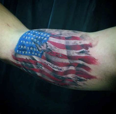 patriotic  american flag tattoo  chest