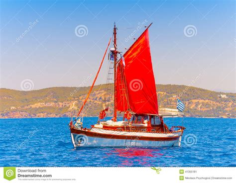 classic wooden sailing boat stock photo image