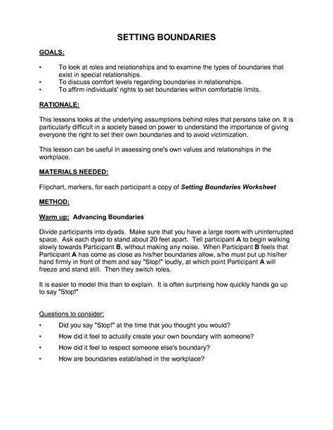 healthy boundaries worksheet setting boundaries