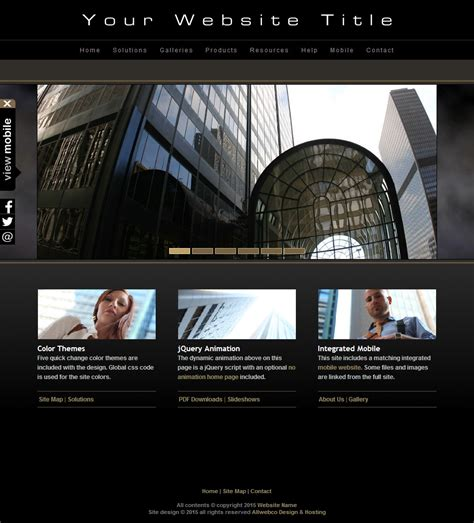 html photography website template  black  mobile version