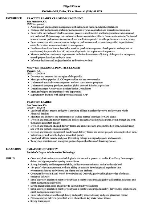 Practice Resume by Practice Leader Resume Sles Velvet