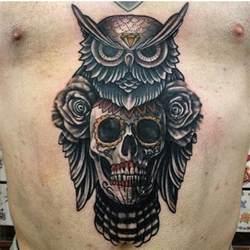 Sugar Skull Owl Tattoo Designs for Men