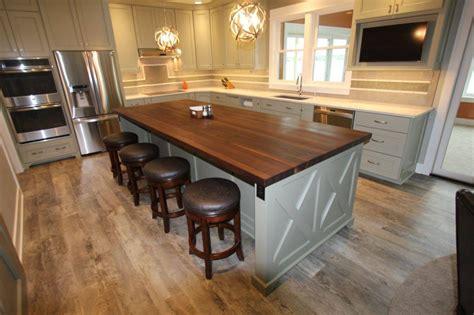 butcher block kitchen islands remodelling transitional kitchen with walnut island
