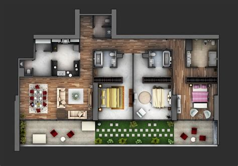 3 Bedroom Home Design : 3 Bedroom Apartment/house Plans