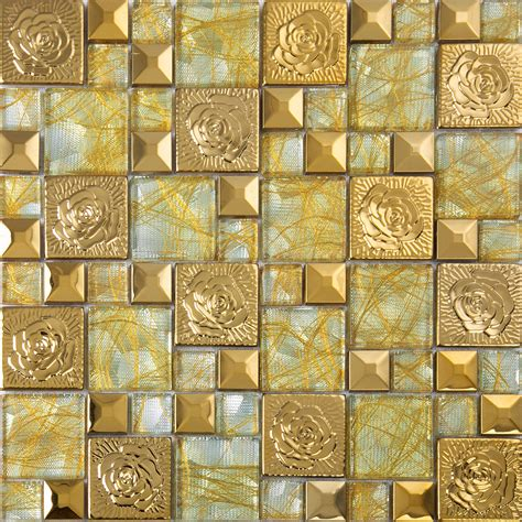 gold  stainless steel mosaic tile glass art mirror wall