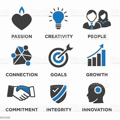 Values Core Company Icons Infographics Solid Illustration