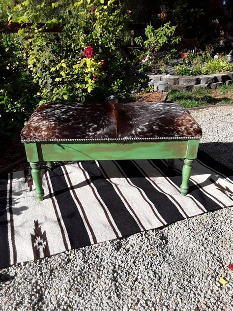 Cowhide Bench Seat by Made To Order Custom Cowhide Storage Bench Seat