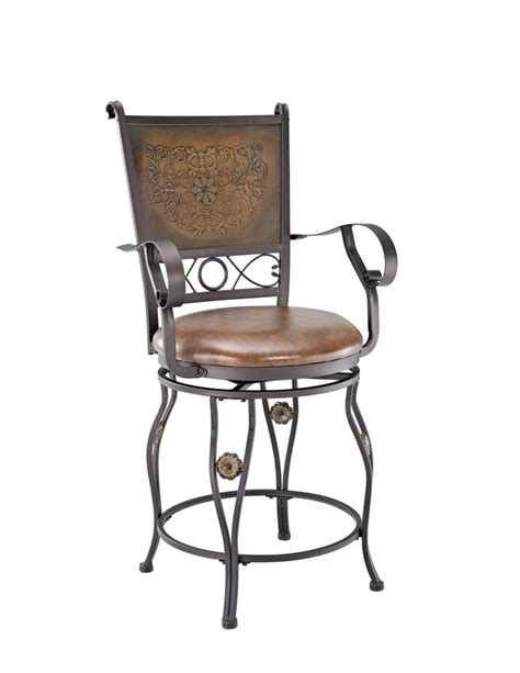 Stool With Arms Big Counter Stool With Arms Copper Sted Back