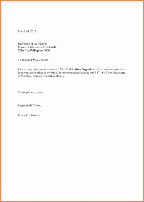 authorisation simple authorization letter  resume layout