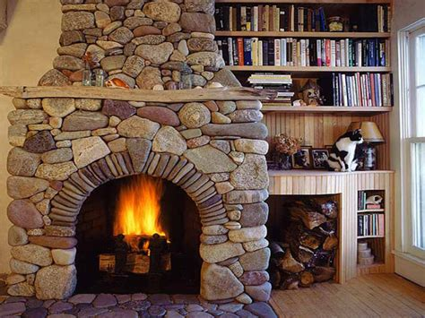 French White Bookcase Log Cabin Stone Fireplace Rustic