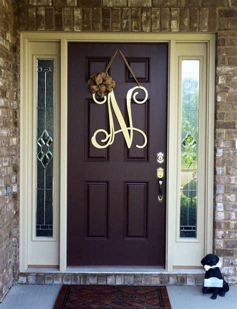 metal initial door wreath  ribbon front door wreaths monogram door hanger monogrammed