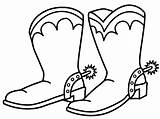 Coloring Cowboy Pages Boot Boots Clipart sketch template
