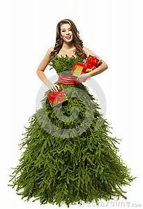 Woman Christmas Tree Dress Fashion Model Girl Presents