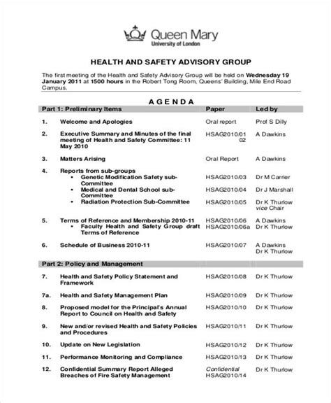 Health And Safety Committee Meeting Agenda Template by Safety Agenda Templates 10 Free Sle Exle Format