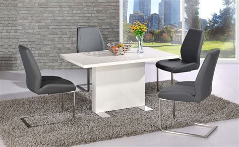 white high gloss dining table   grey chairs set