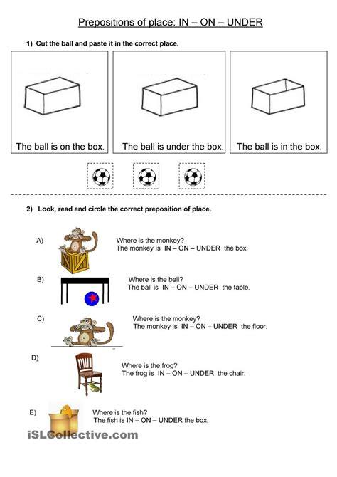 prepositions of place in on school