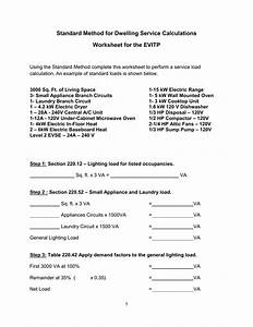 Electrical Service Load Calculation Worksheet