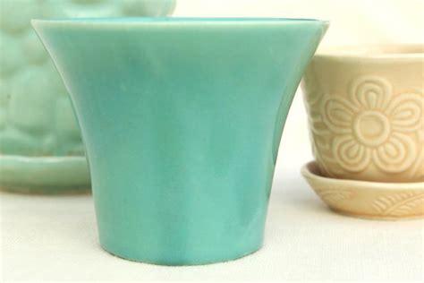 vintage mccoy pottery flower pots planters blue green