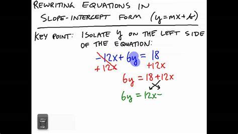 rewriting equations  slope intercept form youtube