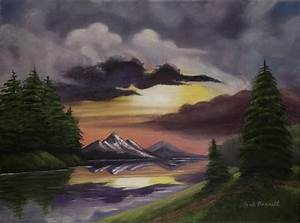 Brilliant Mountain Sunset Painting by Gail Darnell