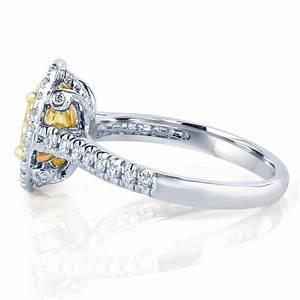 124 carat oval cut yellow brilliant diamond halo With 24 carat white gold wedding rings