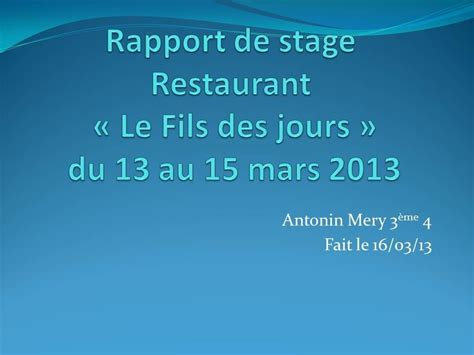 rapport de stage 3eme cuisine rapport de stage 3ème