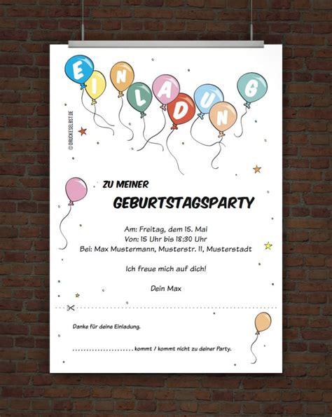 kostenlose vorlage kindergeburtstagseinladung mit