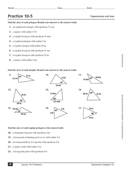 practice 10 5 trigonometry and area worksheet for 9th 12th grade lesson planet