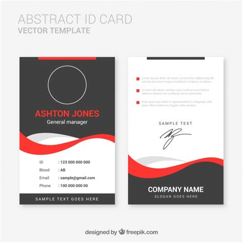 id card design template abstract id card template with flat design vector free