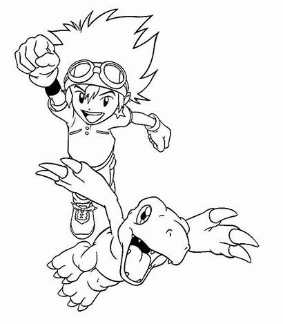 Digimon Coloring Pages Agumon Vibrant Taichi Characters