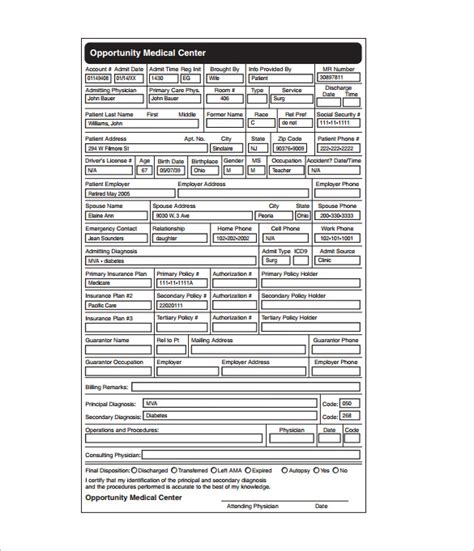 medical chart template  word excel  format