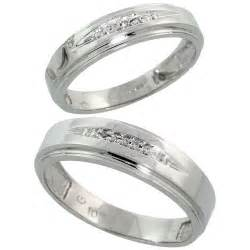 wedding ring sets for him and white gold 10k white gold wedding rings set for him 6 mm and 5 mm 2 0 05 cttw brilliant