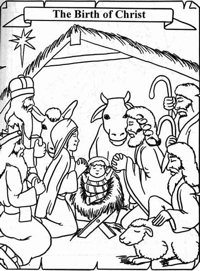 Birth Coloring Jesus Pages Drawing Story Christ