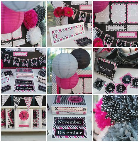 hot pink black gray classroom theme  decor