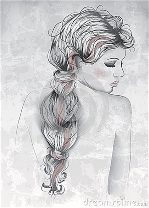 beautiful woman  hand drawn style royalty  stock