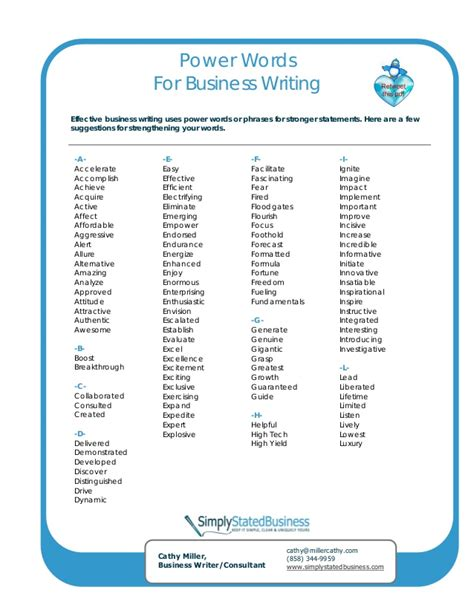 power words for better business writing