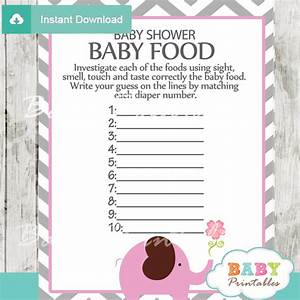 Pink Elephant Baby Shower Games - D106 - Baby Printables