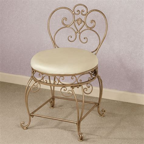 upholstered vanity chair for bathroom aldabella satin gold upholstered vanity chair